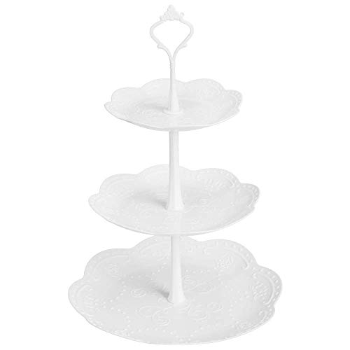 CoiTek 3 Tier Cupcake Stand, Plastic Tiered Serving Stand, Dessert Tower Tray for Tea Party, Baby Shower and Wedding (1 Pack)