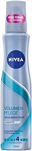 NIVEA Volumen Pflege Schaumfestiger im 3er Pack (3 x 150 ml), Haarschaum mit extra starkem Halt, pflegender Haarfestiger für 24h flexibles Styling