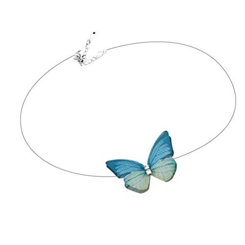 Schmuck,Trada Populäre unsichtbare Fisch-Linie Chiffon- dreidimensionale Schmetterlings-Kurzschluss-Halskette mehrschichtige Choker-Satz mit hängenden Organza unsichtbaren für Frauen-Mädchen (E)