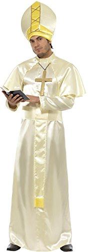 Papst Kostüm Robe Schärpe Mütze Halskette und Umhang, Medium