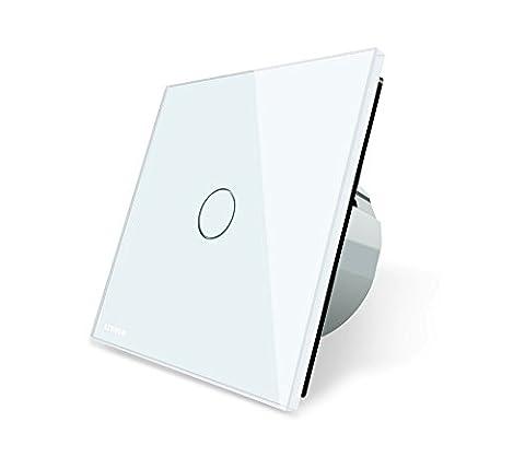Design Glas Touch Taster Impulsschalter weiß