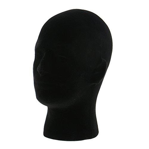 MagiDeal Homme Tête de Mannequin Noir en Mousse à Présentoir Perruque Modèle Tête à Display Chapeau Affichage Ecouteur