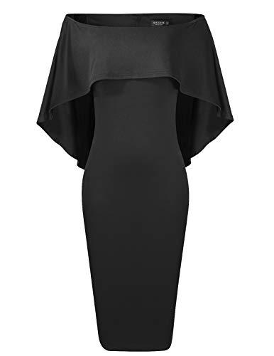 ANGGREK Damen Schulterfrei Midi Kleid Abendkleid Knielang Cocktailkleid Elegant Partykleider
