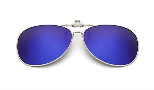 UK1stChoice-Zone Unisex Sonnenbrillen Polarisierte Flip-up Klipp auf Sonnenbrille Gläsern Brille Sun-ClipON0001 (Blau Quecksilber)