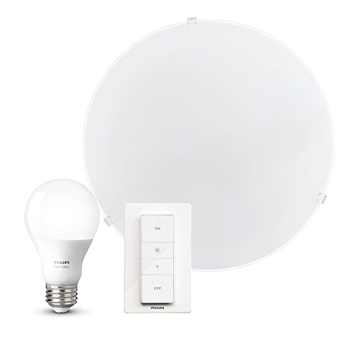 Moderne Wandleuchte/Deckenleuchte inkl. Philips Hue White Wireless Dimming Kit | Dimmbare Deckenlampe, Wandlampe mit Hue-Fernbedienung | warmweiß, Stahl, Glas