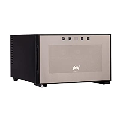 Ovation Wine Bottle and Drinks Thermoelectric Black Horizontal Cooler / Fridge with 8 Bottle / 20L Capacity & LED Temperature Control Panel by Ovation