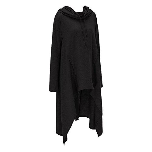 Minetom Femme Sweat à Capuche Manches Longues Hoodie Pullover Jumper Blouse Asymmetric Longue Robe Noir