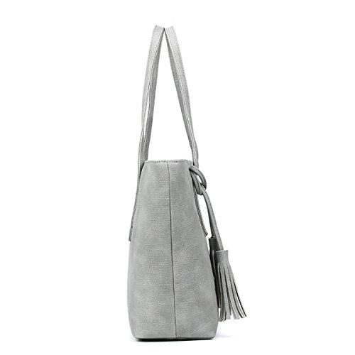 PDFGO Beutel-weibliche Einfache Handtasche Großer Kapazitäts-Schulter-Beutel PU-Beutel-Troddel-Beutel-Einkaufstasche Grey
