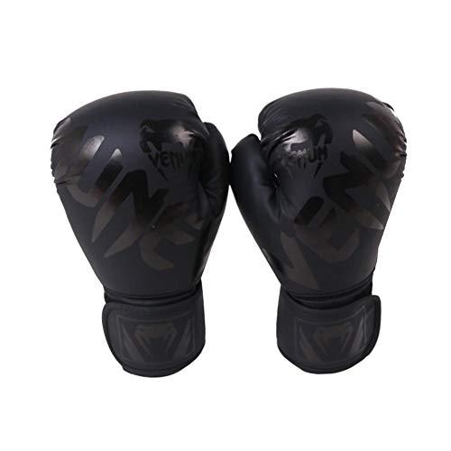 Boxhandschuhe für das Training von Muay Thai   Matte Black ConvEX Skin Lederhandschuhe für Sparring, Kickboxing, Fighting, Punch Bags und Focus Pads Stanzen