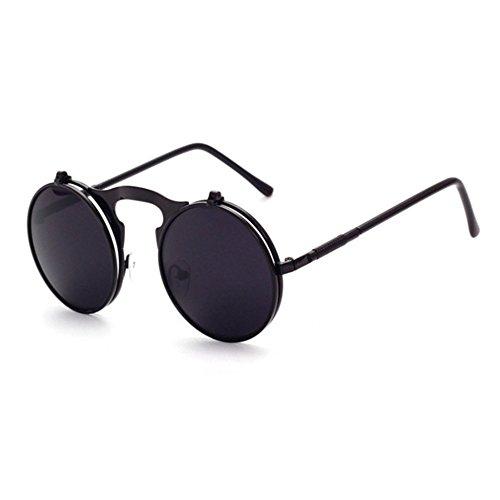Aoligei Retro Metall Steampunk Flip Sonnenbrille flip Sonnenbrille Männer und Frauen Mode Brillen runden Feld Prinz Mirror