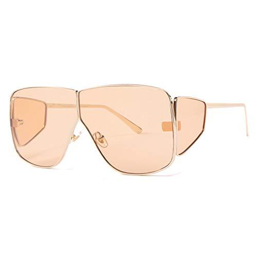 Shihuam Platz Schild Sonnenbrille Sommer Stil Mode Frauen Große Größe Sonnenbrille Männer Uv400,Leichter Tee
