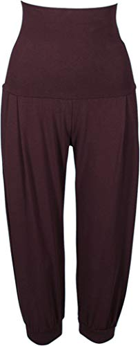 Golden Lutz - Damen Yogahose Yoga Hose Sporthose, Capri (Gr. L 44/46, Bordeaux - weit/Relaxed fit) (Fit-yoga-hosen Relaxed)