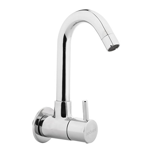 Hindware F280026CP Sink Cock with Extended Swivel Spout Wall Mounted (Flora) with Chrome Finish