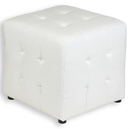 Tabouret pouf cubique DIANA simili cuir blanc