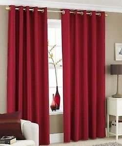 Faux Silk Eyelet Curtains For Living Room Bedroom 66×90 inches Drop Plain Pair Of Ready Made Curtains Fully Lined Ring Top With Matching Tie Back , Deep Red