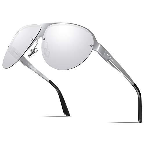 KITHDIA Unisex Polarisiert Sonnenbrille Herren/Damen Al-Mg Ultra Light Metall Rahmen
