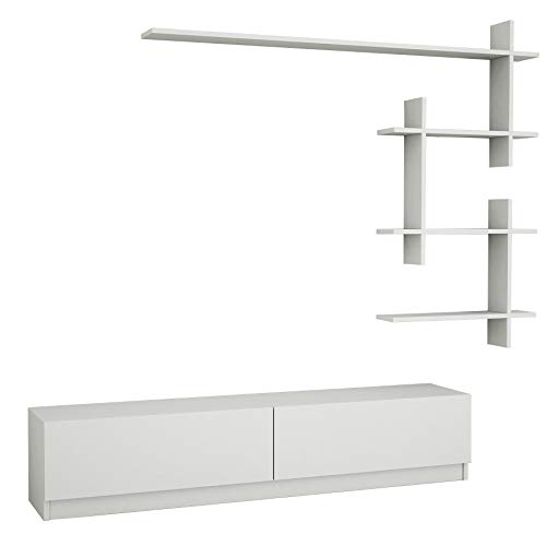 Alphamoebel Ahenk 4101 Weiß, TV Board Lowboard Fernsehtisch Sideboard, Fernseh Hängeschrank für Wohnzimmer Designerregal, 220 x 31,3 x 32,9 cm -
