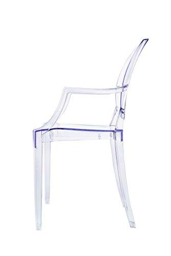 comprare on line Spirit trasparente Ghost sedia per sala da pranzo, poltrona design moderno stile Louis Kartell Philippe Starck, set di 2 sedie (KRISTAL) prezzo