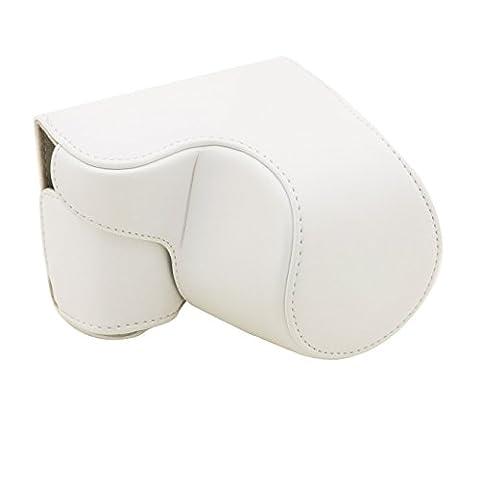 Camera Case - SODIAL(R)pour le cas de la camera Sony A5000 numerique PU Camera Case en cuir avec bandouliere (blanc)