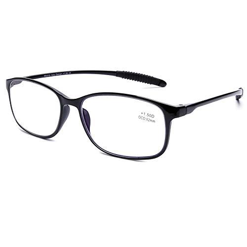 DOOViC Blaulichtfilter Computer Lesebrille Schwarz/Eckig Flexibel Anti Rutsch Brille mit Stärke für Damen/Herren 1,5
