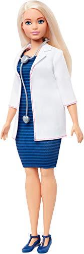 Barbie- carriere dottoressa bambola con stetoscopio e capelli biondi, giocattolo per bambini 3+ anni, fxp00