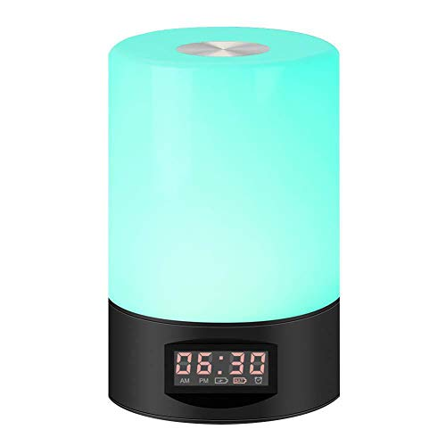 YXZN Wake Up Light LED Bedside Table Lamp 7 Color Night Lights Smart Touch Electronic Alarm Clock