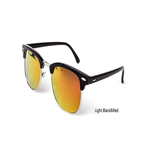Sportbrillen, Angeln Golfbrille,Vintage Semi-Rimless Brand Designer Sunglasses Women/Men Polarisiert UV400 Classic Oculos De Sol Gafas Retro Sun Glasses C8 LightBlack Red