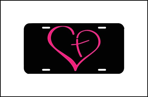 BNHF Cross License Plate, Front Car License Plate, Christian Vanity Plate Tag, Car Tag, Cute Girly Car Accessory, Religious Car Tag, Cross Heart -