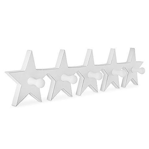 Patère à Cinq Étoiles en Bois Blanc