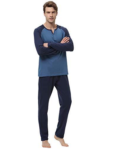 Aiboria Ensemble Pyjama Hommes Coton Manche Longue Pyjama Vêtements de Nuit Haut Et Pantalon Pyjama pour Toutes Les Saisons