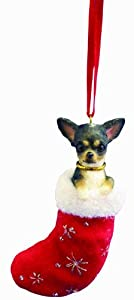 Black and White Chihuahua Stocking Christmas Ornament from E&S Imports
