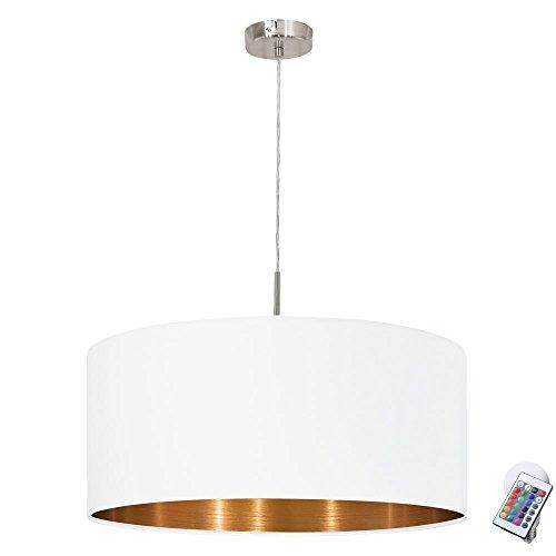 Textil Hänge Leuchte weiß Fernbedienung Wohn Zimmer Pendel Lampe im Set inkl. RGB LED Leuchtmittel