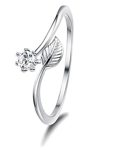 Sllaiss Damen Ringe mit Swarovski Zirkonia S925 Sterling Silber Blattringe für Damen Zirkonia Ringe Größe 46
