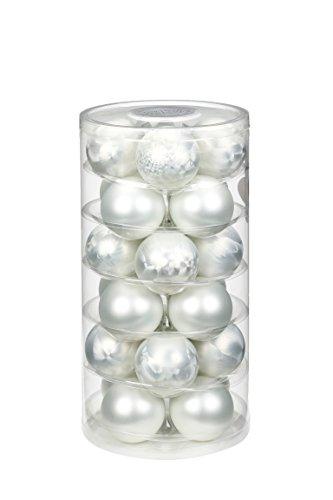 Inge-glas 16106D103MO Glaskugel, 60 mm, 24 Stück/Dose, Eislack, matt weiß