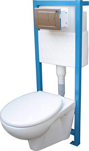 Fortuna All-In-One-Set: Lavita Vorwandelement inkl. Drückerplatte chrom + Wand WC + WC-Sitz