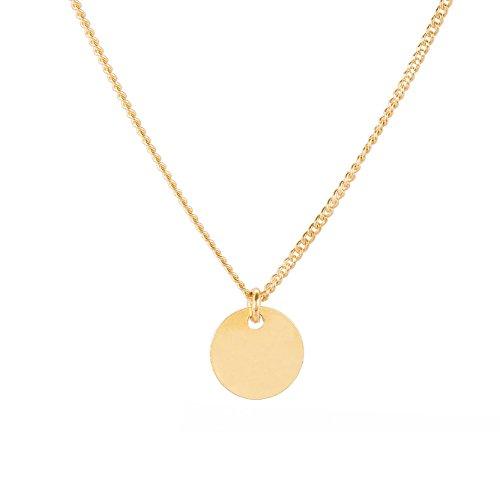 Tom Shot Halskette Damen runder Anhänger - Goldkette Goldplättchen Kreisanhänger Hochglanz vergoldet variable Kettenlänge - 79ke3312g