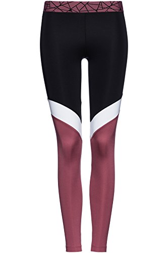 FIND Damen Sport-Leggings mit Colour Blocking, Schwarz (Black/White/Damson), 44 (Herstellergröße: XL)