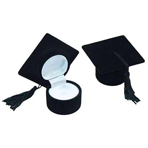 TOYANDONA 2 stücke Doctoral Hat Cap Ring Box Schwarz Graduation Cap Geschenk Box Schmuckschatulle Aufbewahrungskoffer Ring Halter Graduierung Geschenk mit Quaste (Schmuckschatulle Mit Ring-halter)