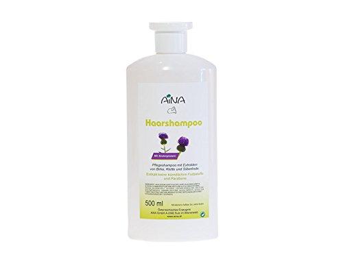 AINA Haarshampoo 500 ml Flasche - Haarpflege mit Seidenproteinen und Kräuterextrakten - Empfindliche Kopfhaut braucht milde Pflege