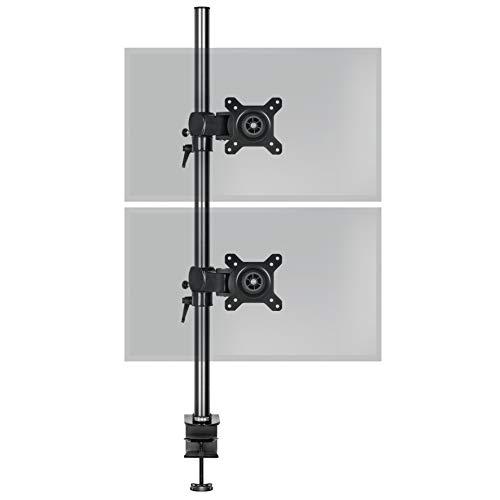 Duronic DM35V2X1 Support vertical double deux écrans PC pour bureau à pince - Potence 80 cm - Hauteur ajustable - Inclinable / Pivotable - Compatibilité universelle avec moniteur d'ordinateur LCD / LED VESA 75 / 100