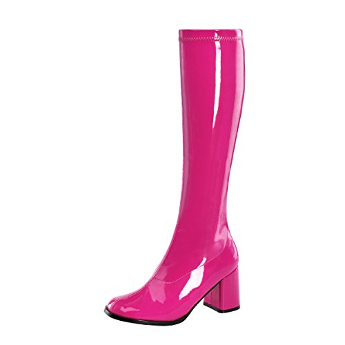 Higher-Heels PleaserUSA Stretch-Kniestiefel Gogo-300 Lack hot pink Gr. - Hot Cheerleader Kostüm