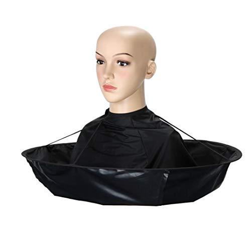 Capa de corte de pelo con paraguas y cuello de corte (negro)
