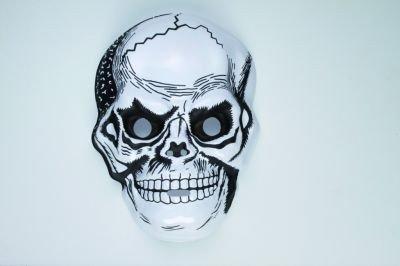 Bösartige Skelett-Maske Halloween-Maske Sensenmann weiss-schwarz Einheitsgröße