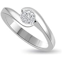 0,30 quilates H/SI1 Anillo solitario de compromiso de diamante para mujer con Redonda diamantes en 18k Oro blanco