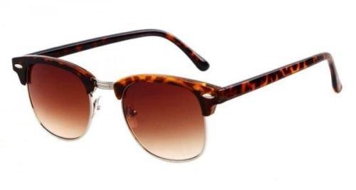 Unisex Sonnenbrille-Klassisches Design Retro Stilvolle Günstige Fashion Flieger Sonnenbrille, Clubmaster leapord Frame Brown Lens