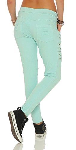 Mr. Shine Damen Stylische baggy Jogginghose für Damen mit einschnitten Reißverschluss und strech Bund Mint