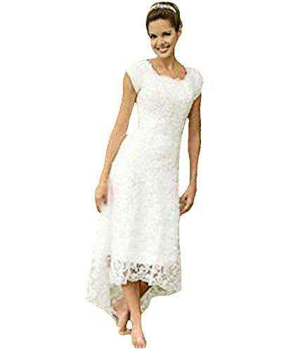 O.D.W Frauen Appliques Spitze Hochzeitskleider Kurze Vintage Brautkleider (Elfenbein 4, 44)