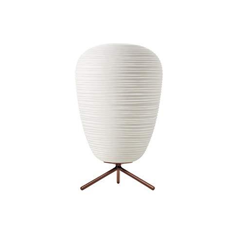 Art Glass Vintage Tisch Lampe (WJMLS Metal Tripod Nachttischlampe, Schlichtes Design mit weichem Licht for Schlafzimmer in warmem und gemütlichem Ambiente, Lampenschirm aus weißem Glas (Size : 24 * 40cm))
