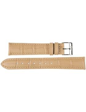 16 mm KAISER Uhren Lederband Uhrenarmband Lederuhrband Beige 16 mm Schliesse: weiss