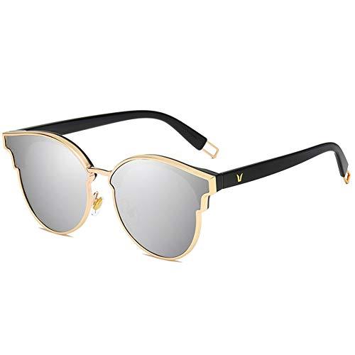 Thirteen Sonnenbrillen Damenmode Große Rahmenmodifizierte Sonnenbrille Mit Polarisiertem Anti- UV-Blendschutz. Kann Zum Dekorieren Von Fahrten Verwendet Werden. (Color : Silver)